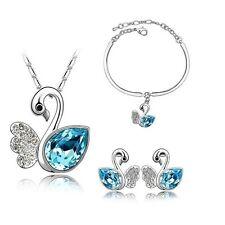 placcato argento cristallo blu CIGNI Collana braccialetto e parure orecchini