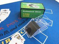 BLACKJACK SET - HUGE 180CM BLUE FELT + CASINO SHOE + CARDS + BLACK JACK