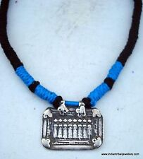 TRIBAL OLD SILVER AMULET PENDANT NECKLACE RAJASTHAN