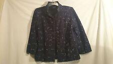 Liz Jordan Ladies Jacket in Black with a Blue Geometric Pattern Size M