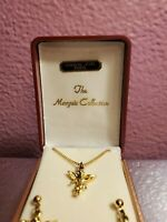 """The Marquis Collection Surgical Steel Posts Necklace 17"""" Earrings Gold Tone"""
