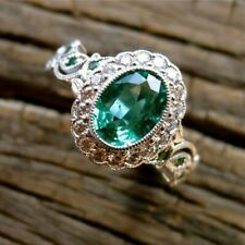 2Ct Oval Cut Emerald Simlnt Diamond Art Deco Filigree Ring Yellow Gold FN Silver