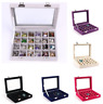 24 Grids Glass Ring Jewelry Display Storage Box Jewelry Holder Storage Organizer