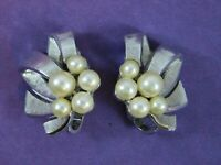 Vintage Trifari Signed Earrings Faux Pearl Silver Tone Textured Clip On