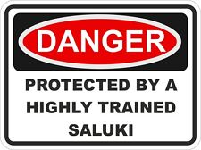 Dog Breed SALUKI  Danger Sticker Pet for Bumper Locker Car Door