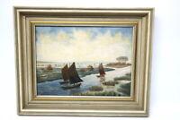 Ölgemälde Signiert OLSEN Fischerboote in Husum um 1950