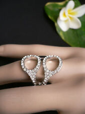 Versilberte Modeschmuck-Ringe mit Strass-Perlen für Damen