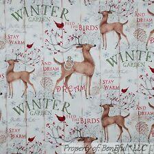 BonEful Fabric Cotton Quilt Red Cardinal Country Deer Bird Berry Xmas Tree SCRAP