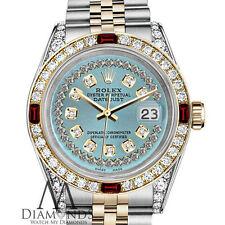 Ladies Rolex SS & 18k 26mm Datejust Ice Blue String Dial Ruby & Diamond Watch