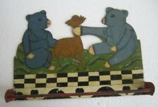 Vintage old iron napkin clothes hanger rack , two bear and deer