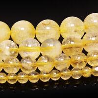 """Yellow Citrine Gemstone Beads Round 4mm 6mm 8mm 10mm 15.5"""" Full Strand"""