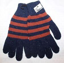 TOPMAN Designer Men's Acrylic Wool Gloves Striped Navy Rust  M/L NWT $30 FBB