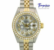 Rolex Watch Lady Datejust 69173 Gold & Steel Silver Flower Dial with Diamonds
