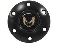 Black Steering Wheel 6 Hole Horn Button w/ Gold Pontiac Firebird Emblem