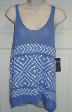 HOLLISTER Ladies Knitted vest top size small in blue with white pattern