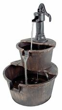 2 Tier Barrel Garden Water Feature with Traditional Hand Pump 61cm / 24.5''