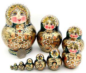 DARK GREEN Matryoshka GOLD Russian 10 Nesting Dolls Babushka Genuine signed GIFT