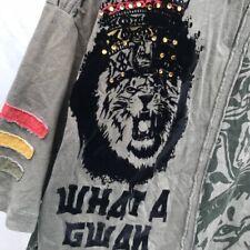 Rebel Spirt Army Green & Black Velvet Lion T-Shirt