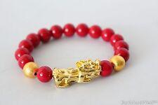 Cinnabar Bead Gold Metal Dragon Pi Xiu Pi Yao Lucky Feng Shui Bracelet Bangle