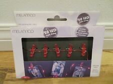 MELANNCO LED String Light Strand with 20 RED Plastic Photo Clips Room Dorm Decor