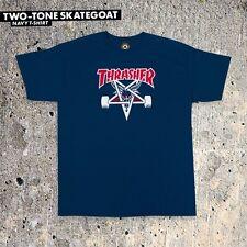 Thrasher Magazine TWO TONE SKATE GOAT Skateboard Shirt NAVY LARGE