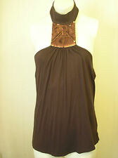 NEXT Stunning stretchy brown  shiny sequined  halterneck top Size 11  Worn once