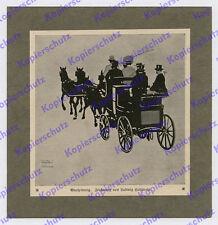 Ludwig Hohlwein Reise Kutsche Vierspänner Pferde Silhouette Grafik München 1914