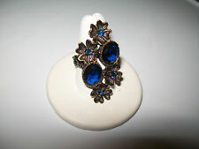 BEAUTIFUL VINTAGE BLUE SAPPHIRE COCKTAIL RING SIZE  7.75