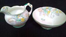 Paragon  English Bone China sugar bowl and milk jug  Primula green trim BARGAIN