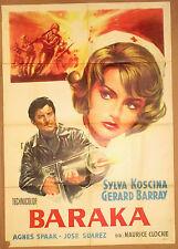 BARAKA SUR X 13 ~ 1966 one sheet Italian poster~SYLVA KOSCINA~Barray~AGENT X 77