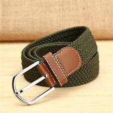 New Mens Casual Belt Canvas Elastic Buckle Waist Strap Rugged Classic Jean Belt