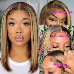Ombre Color 4/27 Brazilian Straight Lace Front Wig Human Hair For Black Women