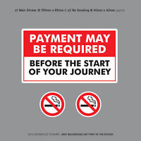 Payment Required Before Journey Taxi Sticker Minicab Car Sign Notice - SKU3127