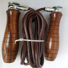 Corda per saltare in pelle manico in legno corda Professionale Salto Velocità Esercizio Boxe