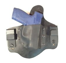 Leather Kydex Holster Smith & Wesson 9mm or 40 shield leather lined IWB MTO