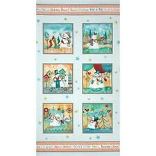 """WARM WISHES Snowman Panel 23.5"""" x 44""""  Quilt Fabric by Red Rooster #24440"""