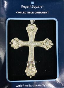Harvey lewis  Rainbow Crystals Ornament  Christian Cross Silver
