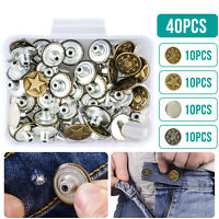 40 Set Clothes Jeans Denim Tack Buttons Replacement Kit Repair For Sewing Pants