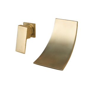 Brushed Gold Bathroom Basin Sink Taps 2 Holes Wall Mount Waterfall Mixer Faucet