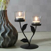 Trendy Leaves Tealight Holder with 2 Clear Glasses
