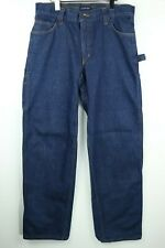 Lands End Mens Size 34x32 Straight Fit Denim Carpenter Blue Jeans Workwear