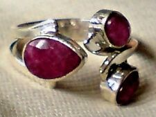 SOLID STERLING SILVER RING with 3 RUBY FACETED STONES UK.size N  £25.95 NWT