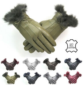 Ladies Genuine Leather Gloves Green With Fur Trim Bow Fleece Lined Winter