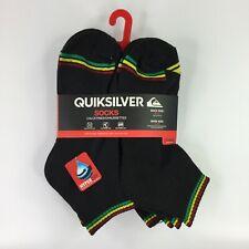 QUIKSILVER Mens Quarter 6 pairs sock size 9-11 (Shoe 4-10) Black Rasta NEW