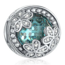 1pcs Silver CZ European Charm Beads Fit 925 Necklace Bracelet Pendant Chain F603