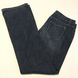 Bisou Bisou Women's Size 6 Jeans Low Rise Bootcut Dark Wash Sequin Studded
