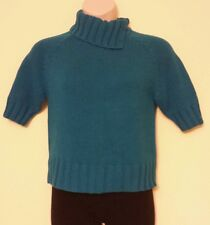 WORTHINGTON NEW Teal Blue Short Sleeves Open Cowl Neck Sweater Top Juniors L QCO