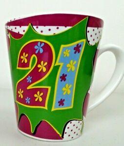 Colourful 21st Birthday Mug NEW (slightly damaged box)