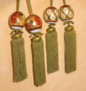 Vintage Inspired Olive Green Drapery Tieback & Tassel w/ Ceramic Beads