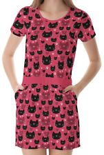 Cat Faces Women Round Neck Splicing With Pockets Dress b7 acc02664